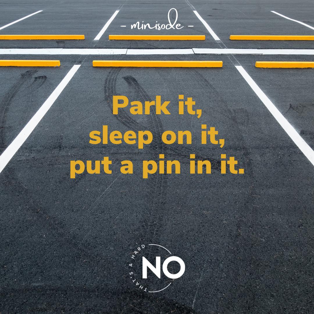 park it, sleep on it, put a pin in it | that's a hard no podcast
